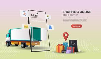 Food and Package Online Ordering Truck Delivery Concept vector