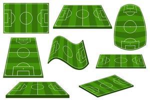 conjunto de campo de futebol em posições diferentes