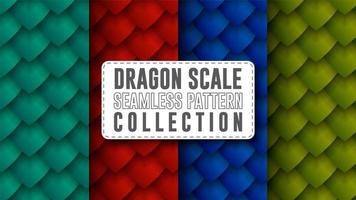 Dragon scale seamless pattern collection vector