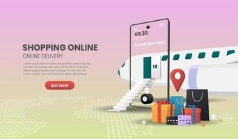 concept de magasinage en ligne mobile avec avion et sacs