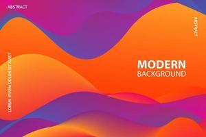 Orange and purple wavy fluid shape design vector