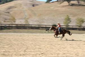 Girl riding horse going fast photo
