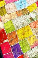 Patchwork of multicolored indian fabrics