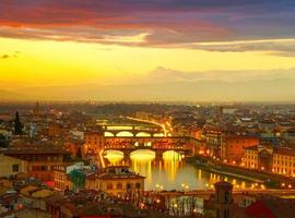 Sunset view of bridge Ponte Vecchio. Florence, Italy