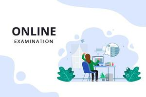 Online examination process landing page vector