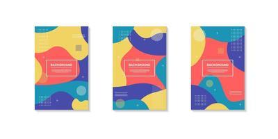 Set of retro color dynamic geometric shape designs vector
