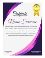 modelo de certificado de canto curvo gradiente roxo