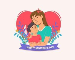 emblema do dia das mães com mãe e filho sobre o coração vetor