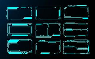 Futuristic interface HUD frames set vector