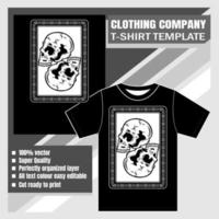 Skull with retro frame t-shirt template vector