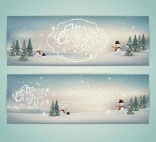 Winter landscape Christmas banners with snowmen vector