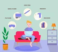 Child on laptop and icons with home activities vector