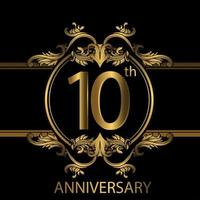 10th anniversary golden luxury emblem on black vector