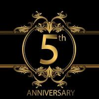 5th anniversary golden luxury emblem on black vector