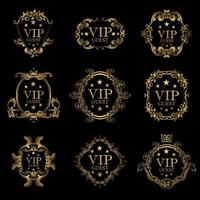 VIP guest luxury frame set vector