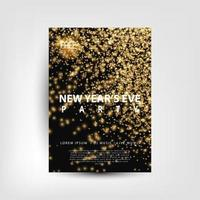 Sparkling Gold New Year's Eve Party Flyer vector