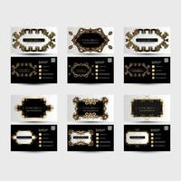 Black and white business cards with golden ornaments