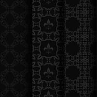 Seamless vintage heraldic gray patterns on black vector