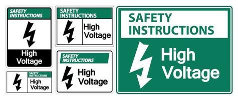 High voltage sign set vector
