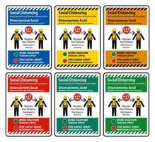 conjunto de signos de construcción de distanciamiento social bilingüe