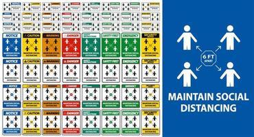 Maintain social distancing sign set  vector