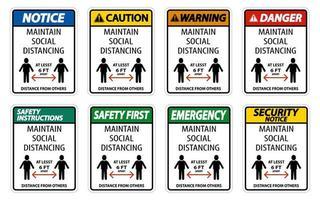 mantener distancia social al menos 6 pies conjunto de signos vector