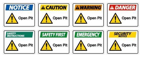 Ensemble de panneaux d'avertissement à ciel ouvert