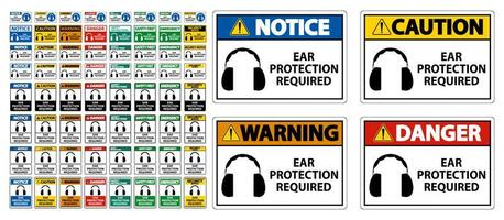 Ear Protection Required Symbol Sign Set  vector