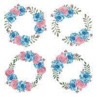conjunto de corona de círculo de flor rosa rosa azul watercikir vector