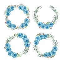 Watercolor blue flower circle wreath collection vector