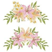 Watercolor curved lily flower arrangement set vector