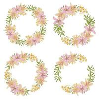 Lily flower wreath frame in watercolor style vector