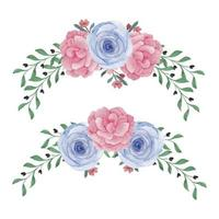 Watercolor curved rose peony flower set