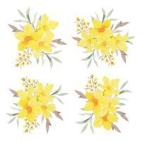 Watercolor yellow allamanda bouquet arrangement set vector