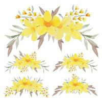conjunto de arreglo curvo allamanda amarillo pintado a mano vector