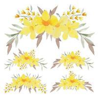 Hand painted yellow allamanda curved arrangement set vector