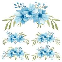 Watercolor light blue anemone curved bouquet set