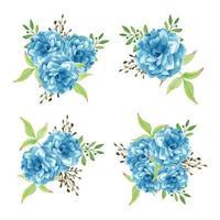 insieme del mazzo del fiore blu dell'acquerello