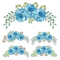 Blue rose curved watercolor hand painted flower set  vector