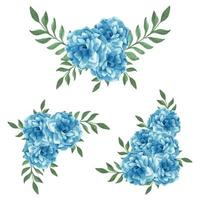 Arreglo floral de acuarela azul para decoración