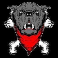 bulldog con bandana y tibias cruzadas vector