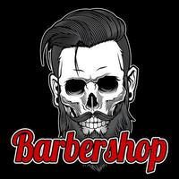 Vintage barbería cráneo barbudo vector