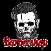 crânio barbudo barbearia vintage vetor