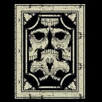 cráneos grunge entrelazados en marco adornado