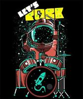 Spaceman Playing Drumset vector