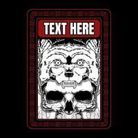 cabeça de lobo no crânio no quadro de texto vermelho