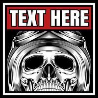 crâne de motard casqué dans le cadre de texte
