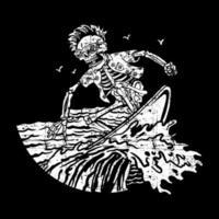 esqueleto de estilo grunge surf vector