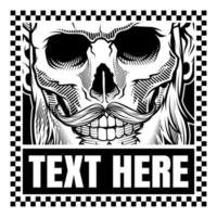Black and white hand drawn style skull with mustache