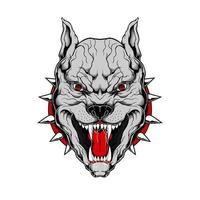 Snarling Pit Bull Hand Drawing vector